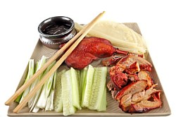 Serving Peking Duck with Pancake, Scallions, Cucumber and Hoisin Sauce
